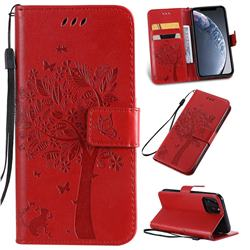 Embossing Butterfly Tree Leather Wallet Case for iPhone 11 Pro (5.8 inch) - Red