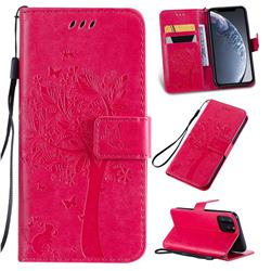 Embossing Butterfly Tree Leather Wallet Case for iPhone 11 Pro (5.8 inch) - Rose