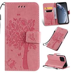 Embossing Butterfly Tree Leather Wallet Case for iPhone 11 Pro (5.8 inch) - Pink