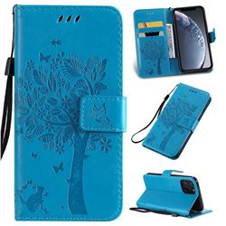 Embossing Butterfly Tree Leather Wallet Case for iPhone 11 Pro (5.8 inch) - Blue