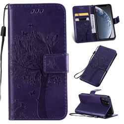 Embossing Butterfly Tree Leather Wallet Case for iPhone 11 Pro (5.8 inch) - Purple