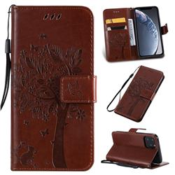 Embossing Butterfly Tree Leather Wallet Case for iPhone 11 Pro (5.8 inch) - Coffee