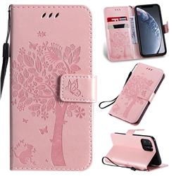 Embossing Butterfly Tree Leather Wallet Case for iPhone 11 Pro (5.8 inch) - Rose Pink