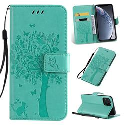 Embossing Butterfly Tree Leather Wallet Case for iPhone 11 Pro (5.8 inch) - Cyan