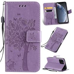 Embossing Butterfly Tree Leather Wallet Case for iPhone 11 Pro (5.8 inch) - Violet