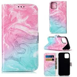 Pink Green Marble PU Leather Wallet Case for iPhone 11 Pro (5.8 inch)