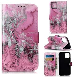 Pink Seawater PU Leather Wallet Case for iPhone 11 Pro (5.8 inch)