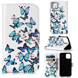 Blue Vivid Butterflies PU Leather Wallet Case for iPhone 11 Pro (5.8 inch)