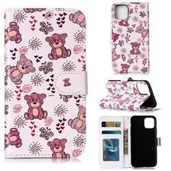 Cute Bear 3D Relief Oil PU Leather Wallet Case for iPhone 11 Pro (5.8 inch)