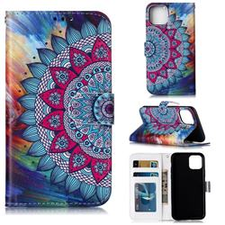 Mandala Flower 3D Relief Oil PU Leather Wallet Case for iPhone 11 Pro (5.8 inch)