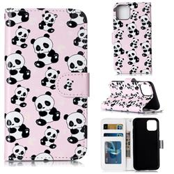 Cute Panda 3D Relief Oil PU Leather Wallet Case for iPhone 11 Pro (5.8 inch)