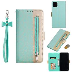Luxury Lace Zipper Stitching Leather Phone Wallet Case for iPhone 11 Pro (5.8 inch) - Green
