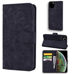 Retro Embossing Mandala Flower Leather Wallet Case for iPhone 11 Pro (5.8 inch) - Black