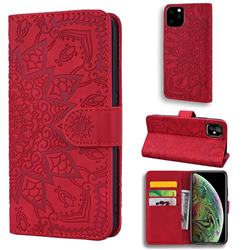 Retro Embossing Mandala Flower Leather Wallet Case for iPhone 11 Pro (5.8 inch) - Red