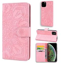 Retro Embossing Mandala Flower Leather Wallet Case for iPhone 11 Pro (5.8 inch) - Pink
