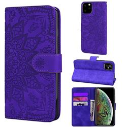 Retro Embossing Mandala Flower Leather Wallet Case for iPhone 11 Pro (5.8 inch) - Purple