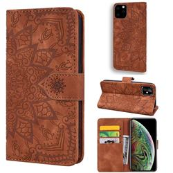 Retro Embossing Mandala Flower Leather Wallet Case for iPhone 11 Pro (5.8 inch) - Brown