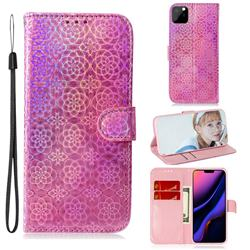 Laser Circle Shining Leather Wallet Phone Case for iPhone 11 Pro (5.8 inch) - Pink