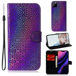 Laser Circle Shining Leather Wallet Phone Case for iPhone 11 Pro (5.8 inch) - Purple