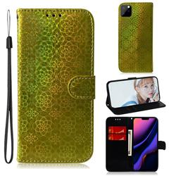 Laser Circle Shining Leather Wallet Phone Case for iPhone 11 Pro (5.8 inch) - Golden