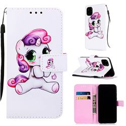 Playful Pony Matte Leather Wallet Phone Case for iPhone 11 Pro (5.8 inch)
