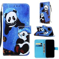 Undersea Panda Matte Leather Wallet Phone Case for iPhone 11 Pro (5.8 inch)