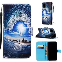 Waves and Sun Matte Leather Wallet Phone Case for iPhone 11 Pro (5.8 inch)