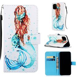 Mermaid Matte Leather Wallet Phone Case for iPhone 11 Pro (5.8 inch)