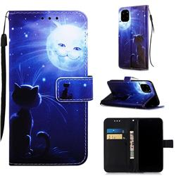 Cat and Moon Matte Leather Wallet Phone Case for iPhone 11 Pro (5.8 inch)