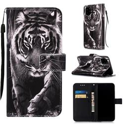 Black and White Tiger Matte Leather Wallet Phone Case for iPhone 11 Pro (5.8 inch)