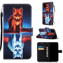 Water Fox Matte Leather Wallet Phone Case for iPhone 11 Pro (5.8 inch)