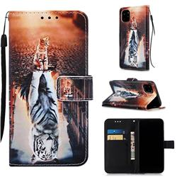 Cat and Tiger Matte Leather Wallet Phone Case for iPhone 11 Pro (5.8 inch)
