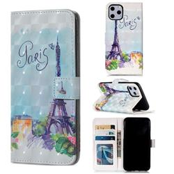 Paris Tower 3D Painted Leather Phone Wallet Case for iPhone 11 Pro (5.8 inch)