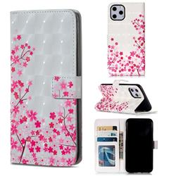 Cherry Blossom 3D Painted Leather Phone Wallet Case for iPhone 11 Pro (5.8 inch)