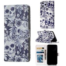 Skull Flower 3D Painted Leather Phone Wallet Case for iPhone 11 Pro (5.8 inch)
