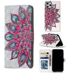 Mandara Flower 3D Painted Leather Phone Wallet Case for iPhone 11 Pro (5.8 inch)