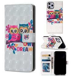 Couple Owl 3D Painted Leather Phone Wallet Case for iPhone 11 Pro (5.8 inch)