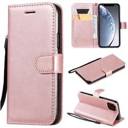 Retro Greek Classic Smooth PU Leather Wallet Phone Case for iPhone 11 Pro (5.8 inch) - Rose Gold