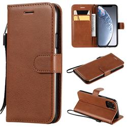 Retro Greek Classic Smooth PU Leather Wallet Phone Case for iPhone 11 Pro (5.8 inch) - Brown