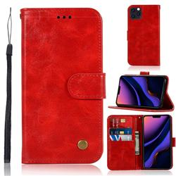 Luxury Retro Leather Wallet Case for iPhone 11 Pro (5.8 inch) - Red