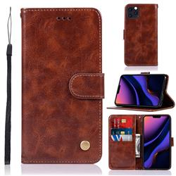 Luxury Retro Leather Wallet Case for iPhone 11 Pro (5.8 inch) - Brown