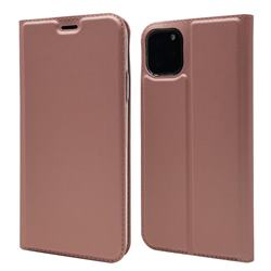 Ultra Slim Card Magnetic Automatic Suction Leather Wallet Case for iPhone 11 Pro (5.8 inch) - Rose Gold