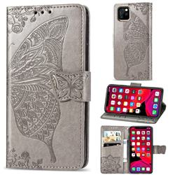 Embossing Mandala Flower Butterfly Leather Wallet Case for iPhone 11 Pro (5.8 inch) - Gray