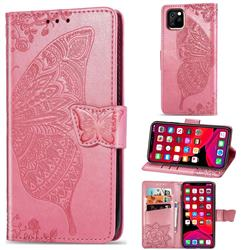 Embossing Mandala Flower Butterfly Leather Wallet Case for iPhone 11 Pro (5.8 inch) - Pink
