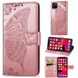 Embossing Mandala Flower Butterfly Leather Wallet Case for iPhone 11 Pro (5.8 inch) - Rose Gold