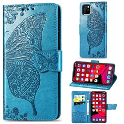 Embossing Mandala Flower Butterfly Leather Wallet Case for iPhone 11 Pro (5.8 inch) - Blue