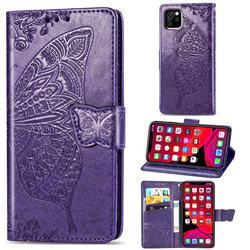 Embossing Mandala Flower Butterfly Leather Wallet Case for iPhone 11 Pro (5.8 inch) - Dark Purple