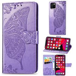 Embossing Mandala Flower Butterfly Leather Wallet Case for iPhone 11 Pro (5.8 inch) - Light Purple