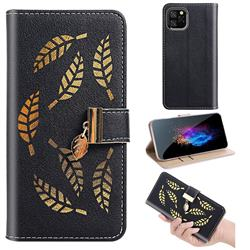 Hollow Leaves Phone Wallet Case for iPhone 11 Pro (5.8 inch) - Black