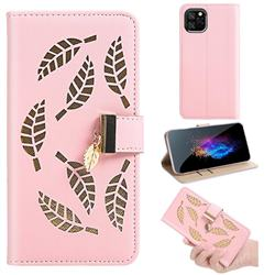 Hollow Leaves Phone Wallet Case for iPhone 11 Pro (5.8 inch) - Pink